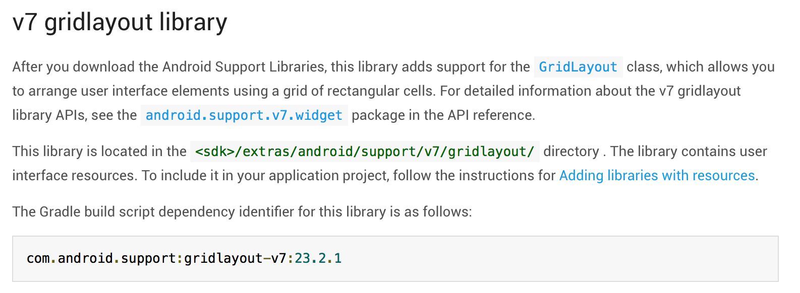 Android Support Library 2