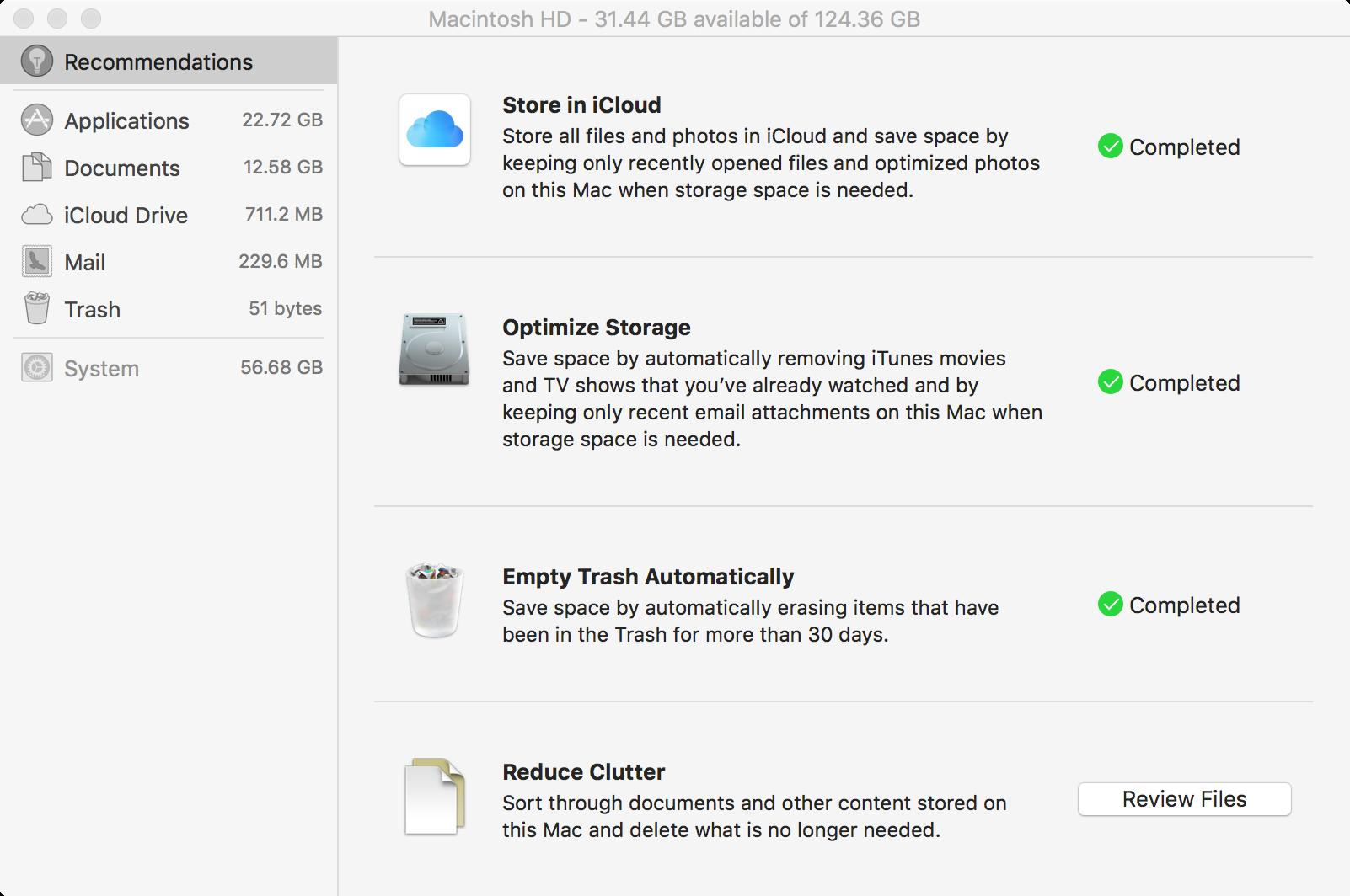 macOS Sierra optimize storage