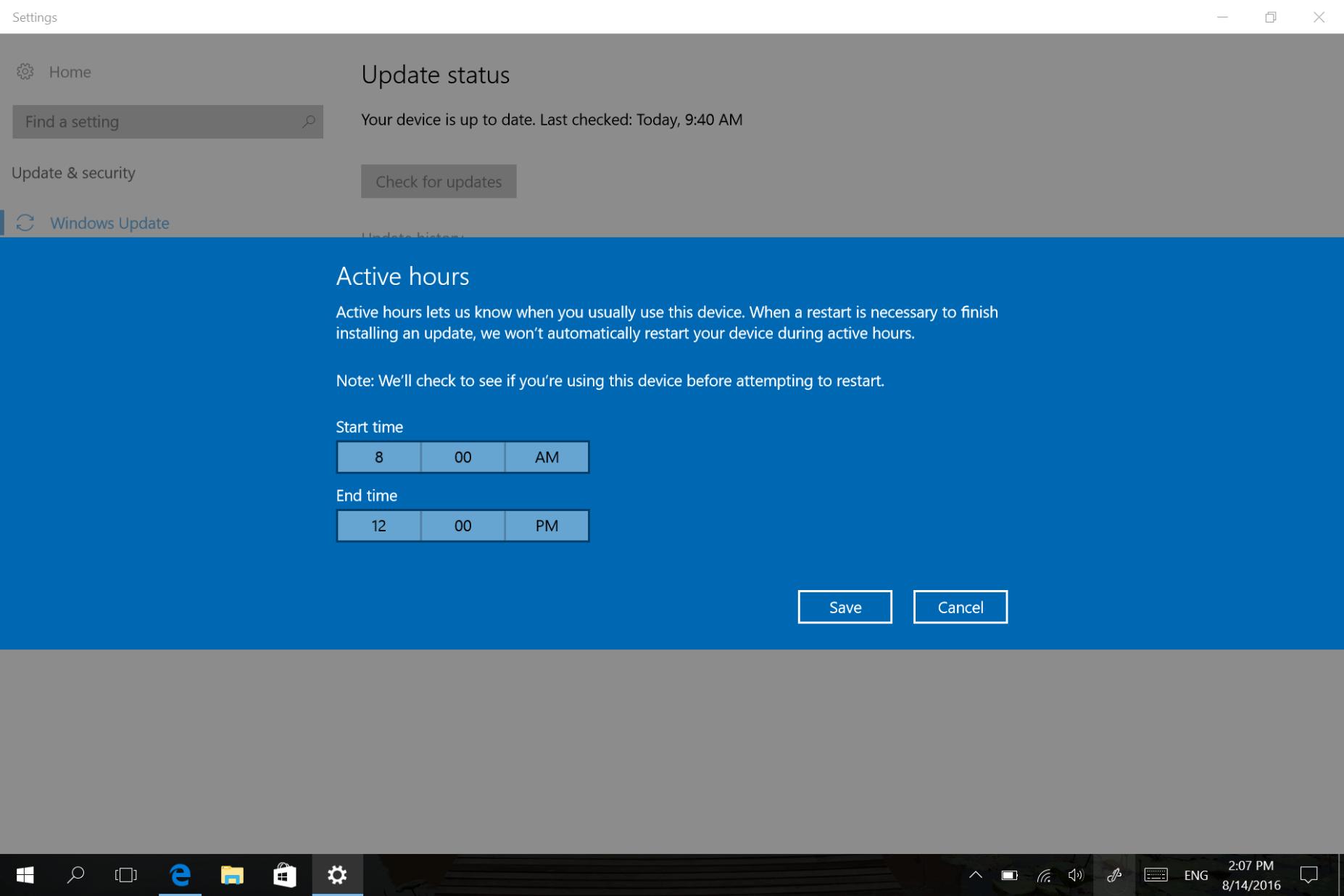 Windows 10 Anniversary Update Windows Update