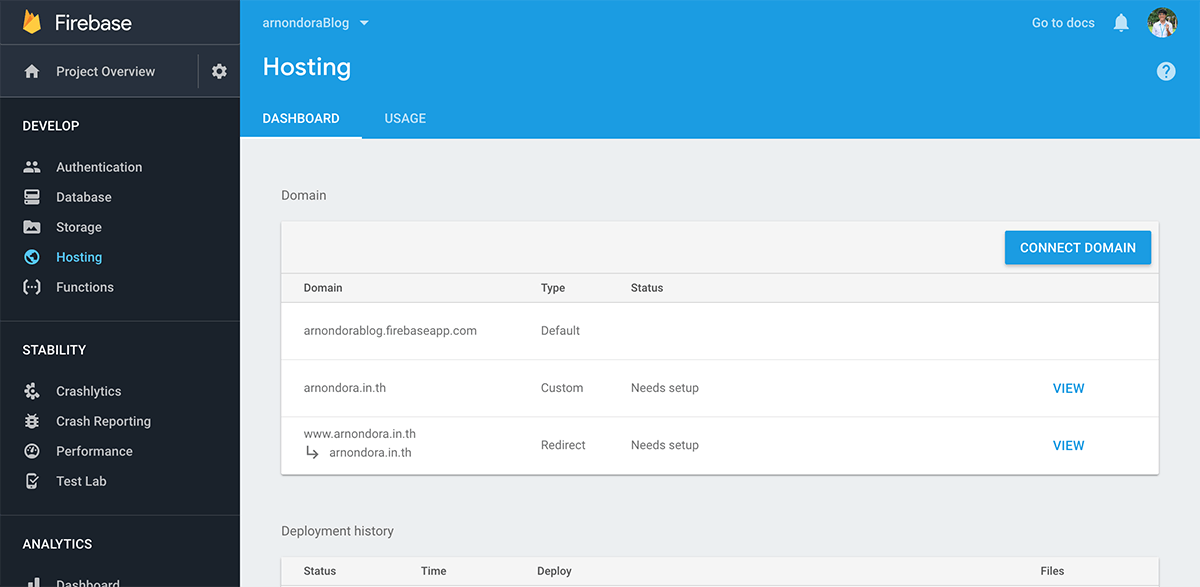 Firebase Hosting Interface