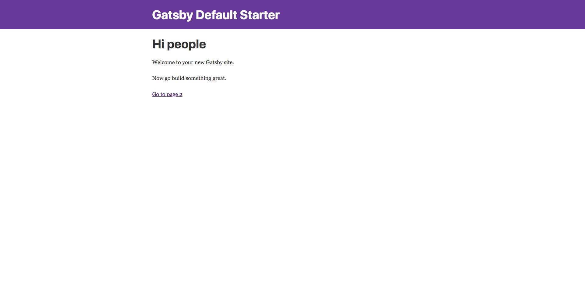 Gatsby Starter Page