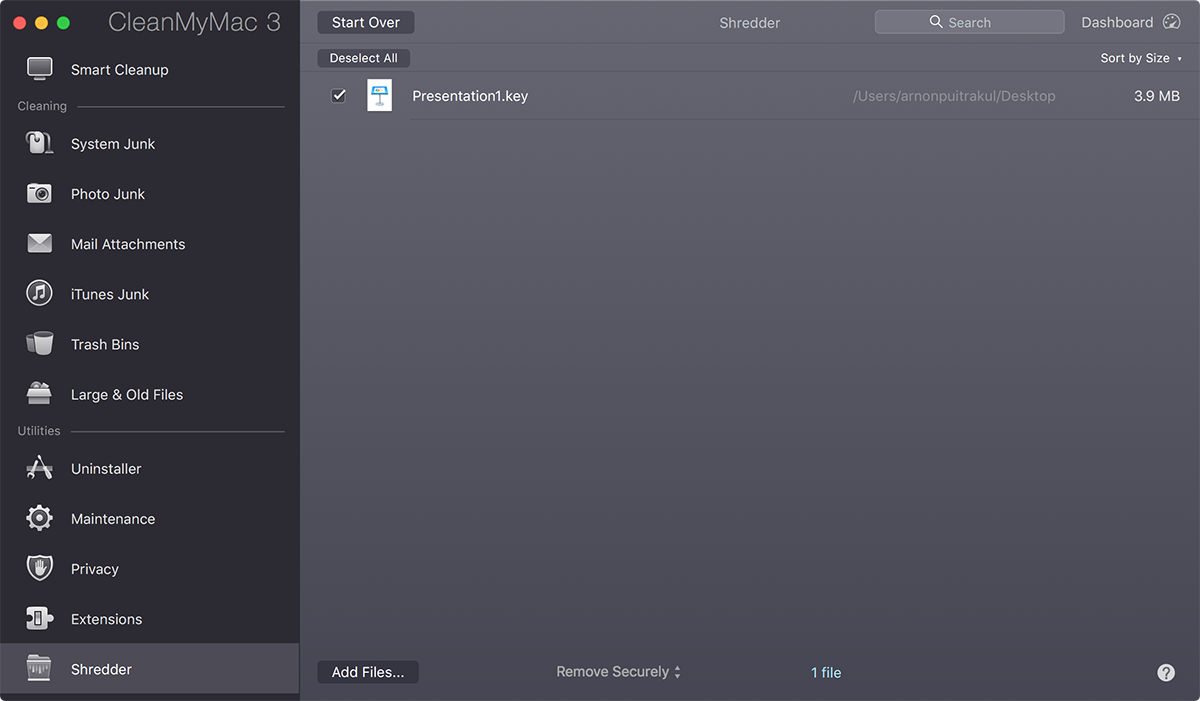 File Shredder in CleanMyMac 3