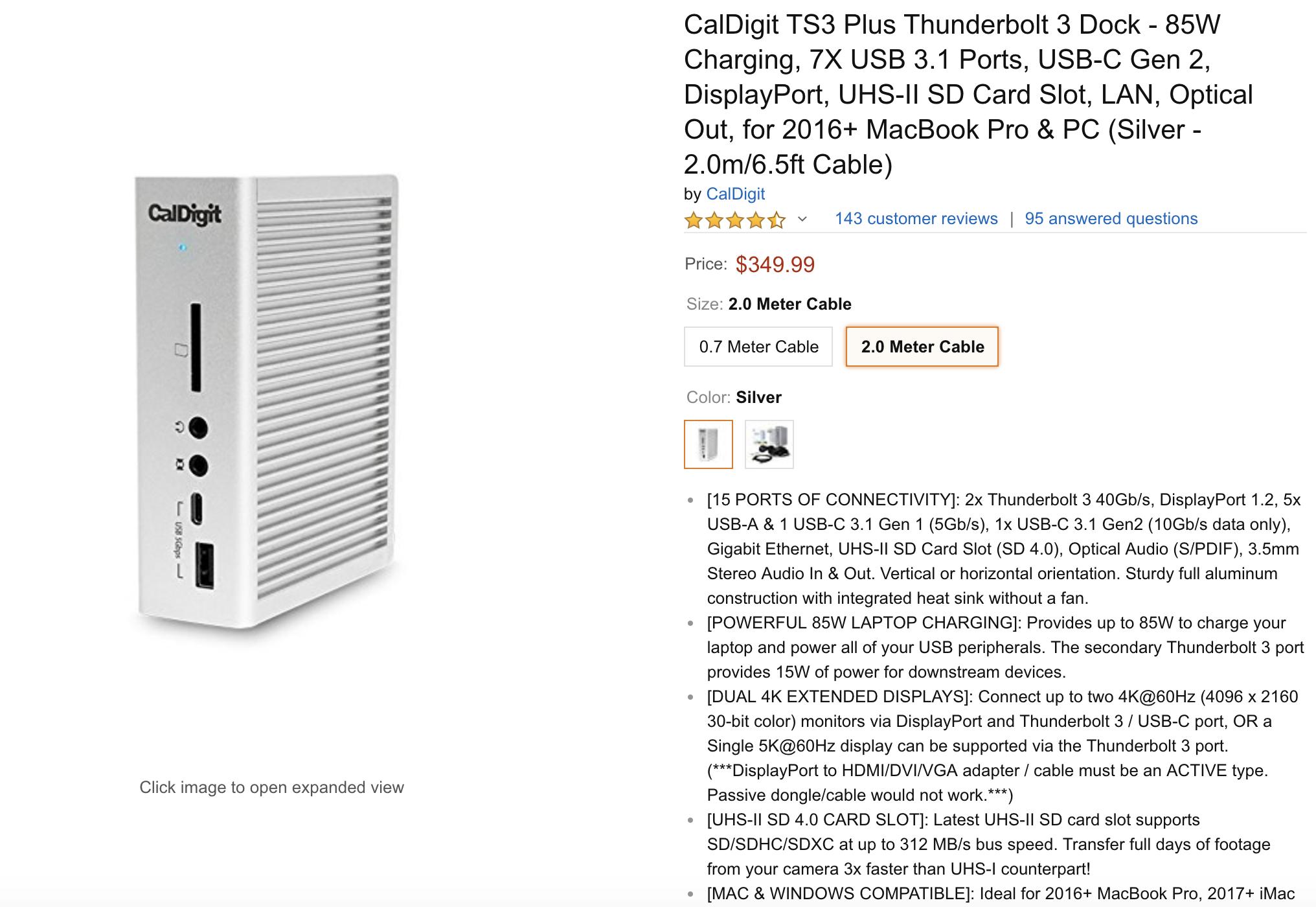 CalDigit TS3 Plus Thunderbolt 3 Dock from Amazon
