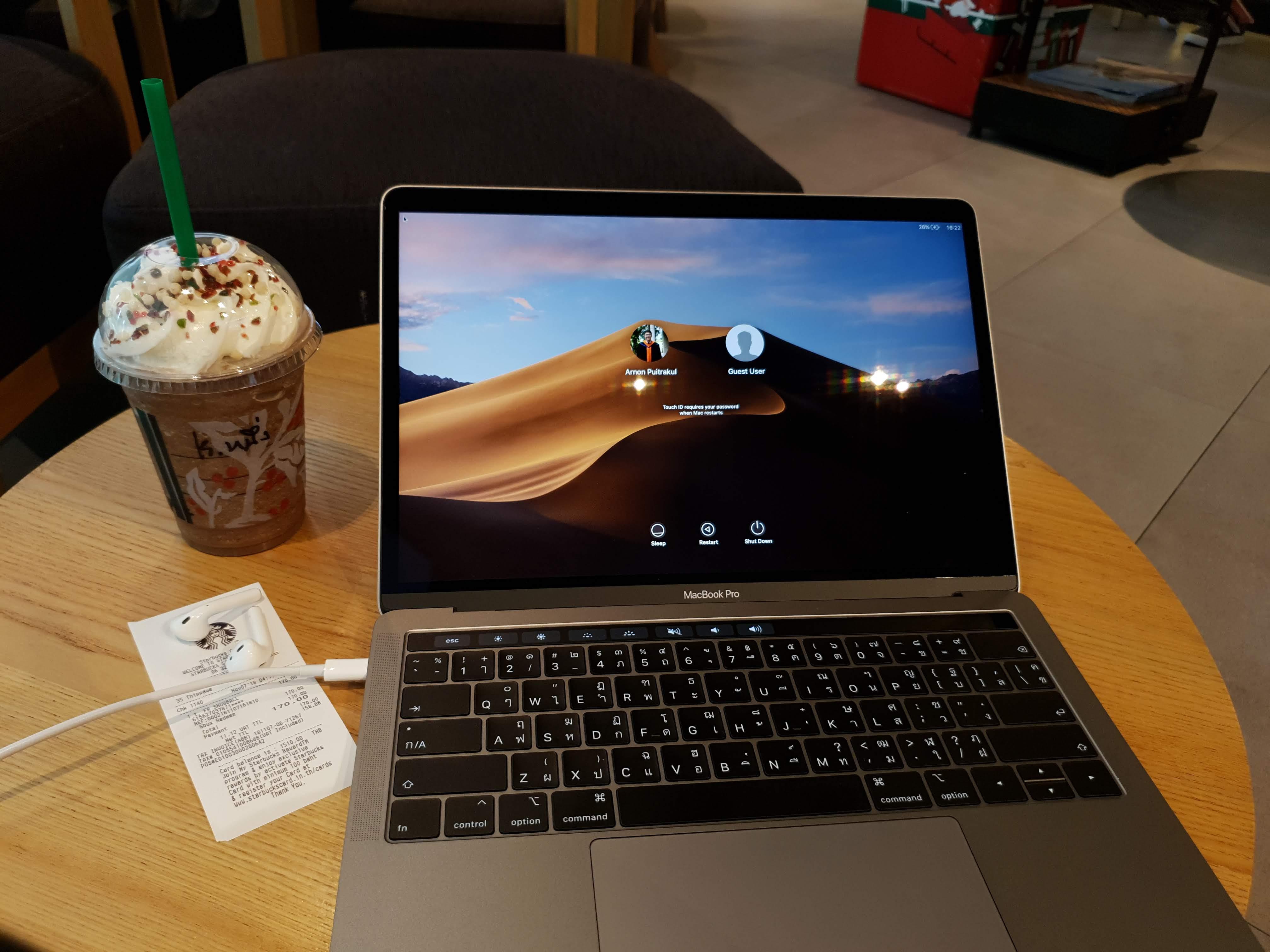 MacBook Pro 13-inch 2018 with Starbucks