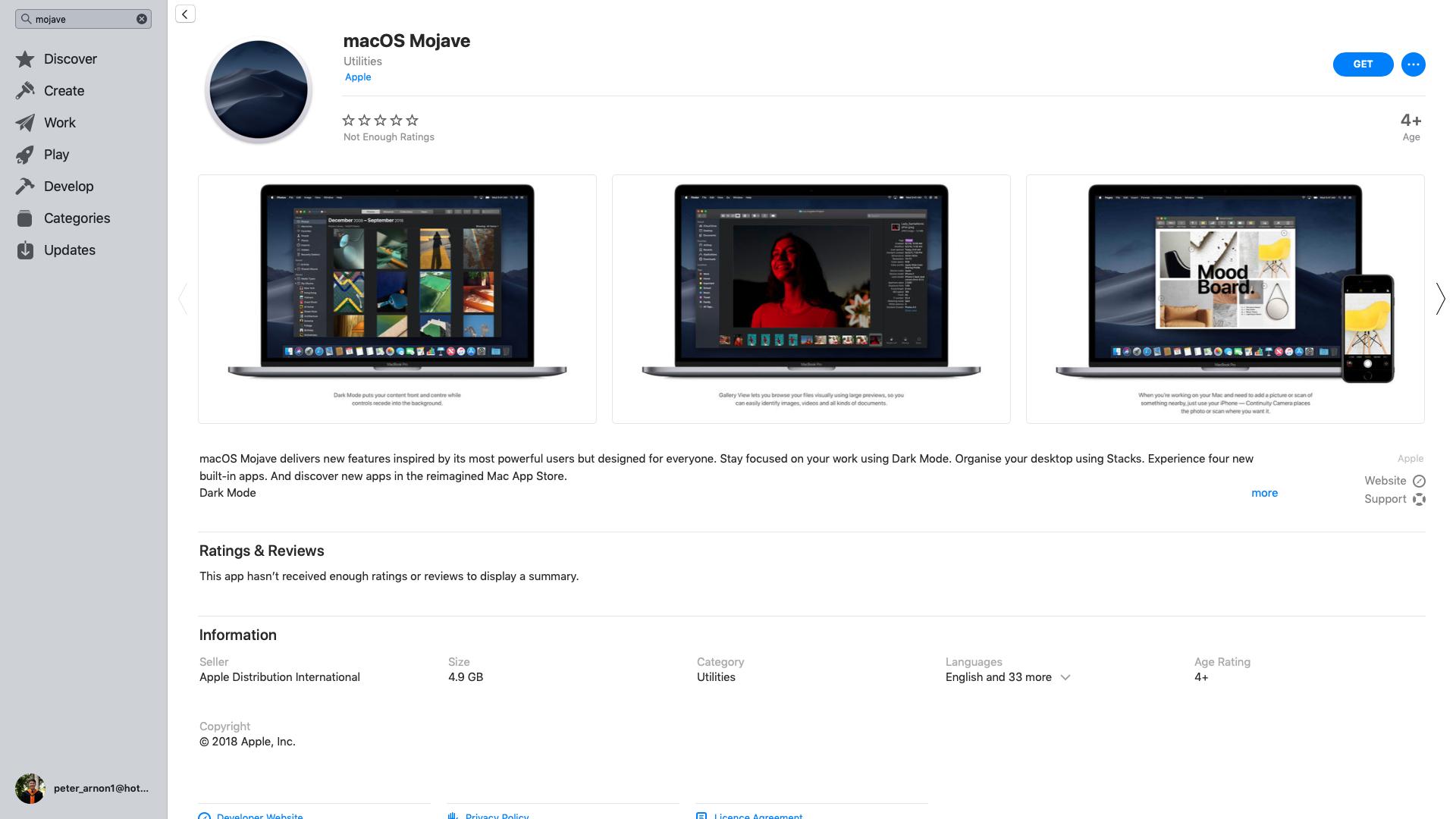 macOS Mojave App Store