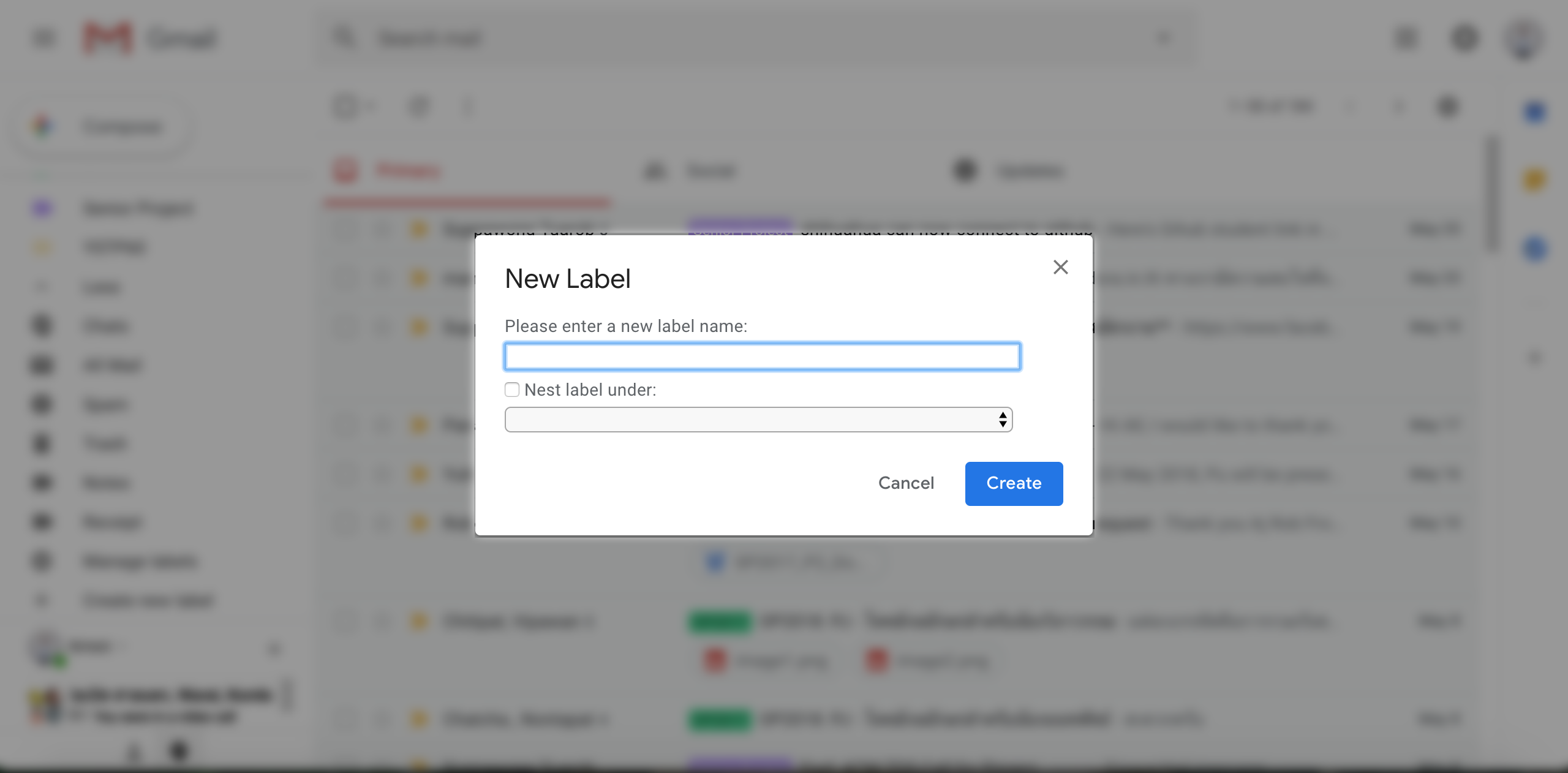 Gmail Add new Tag