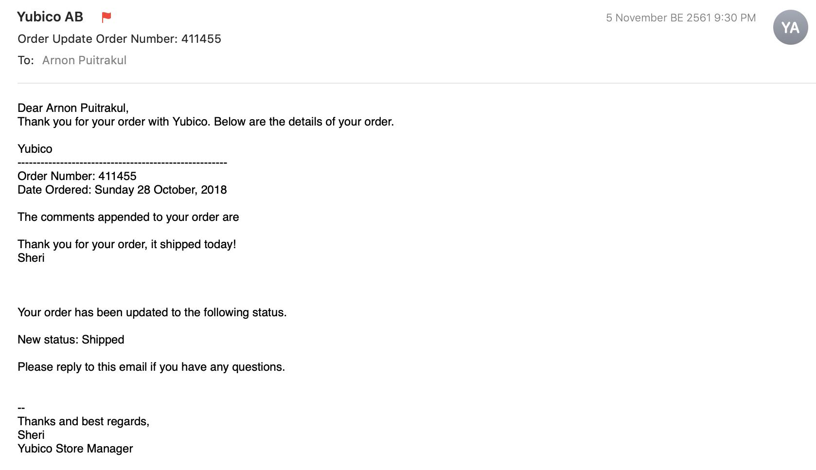 Yubico Order Shipping Update