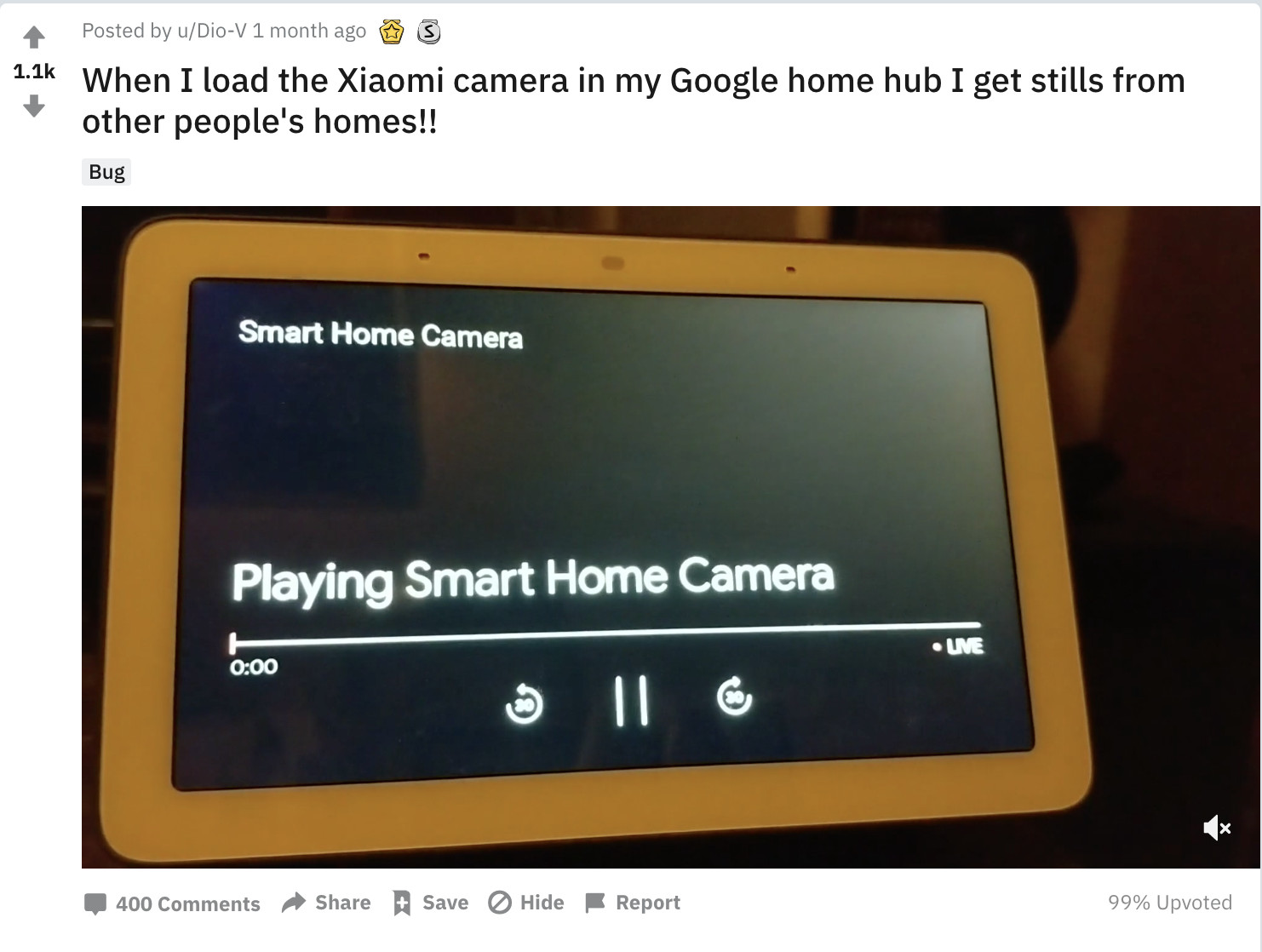 When I load the Xiaomi camera in my Google home hub I get stills from other people's homes!! - Reddit