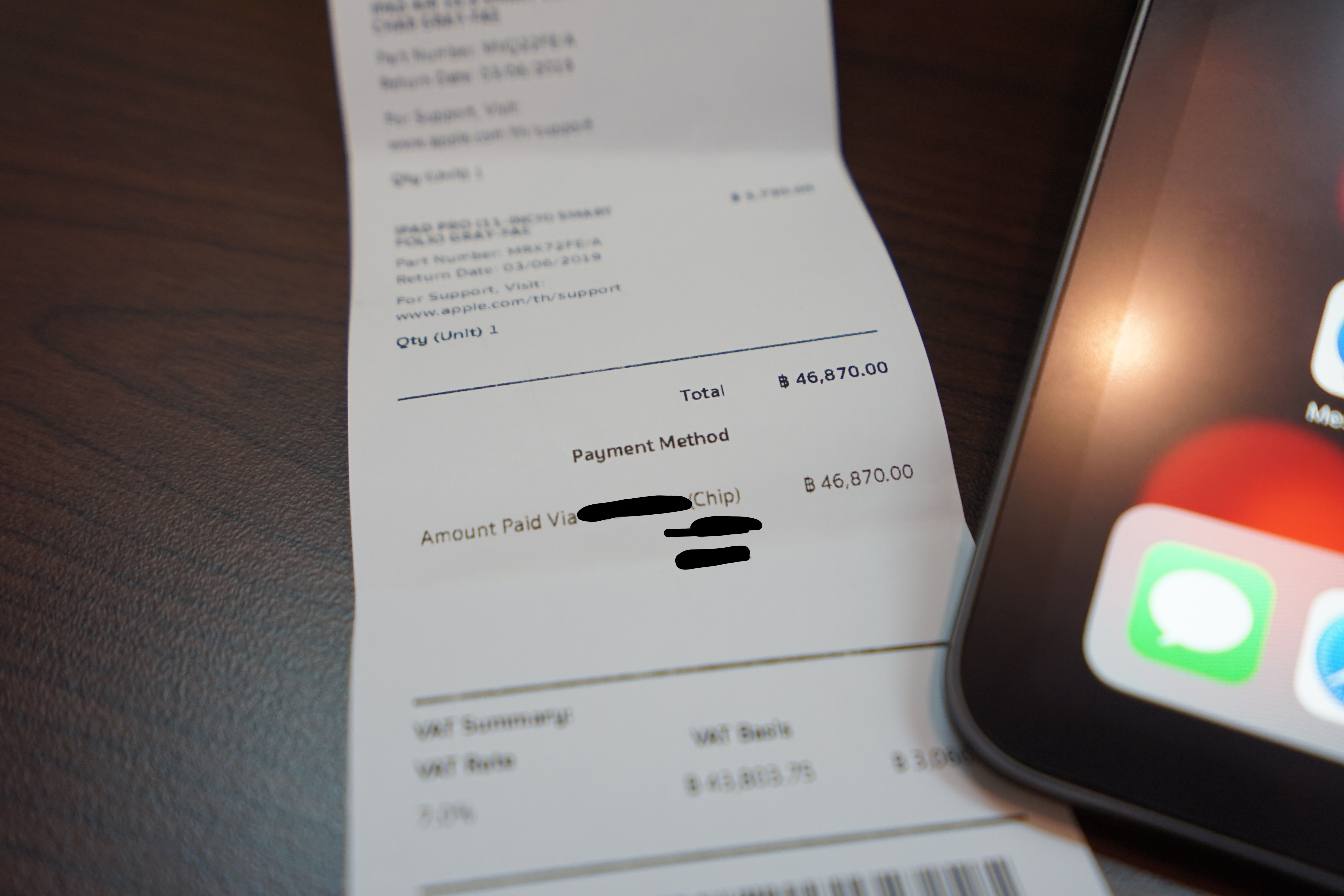 Receipt from Apple Store