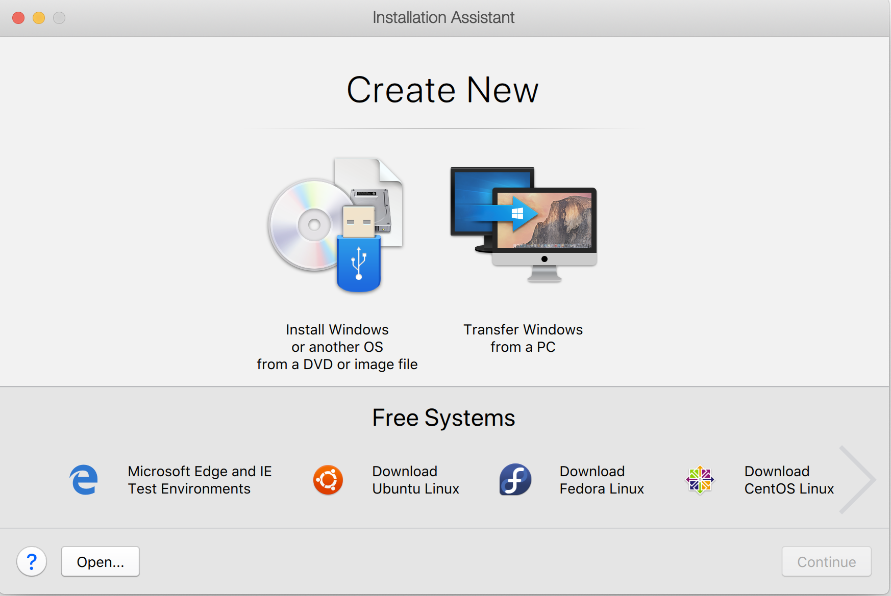 Virtual Machine Creation in Parallel Desktop
