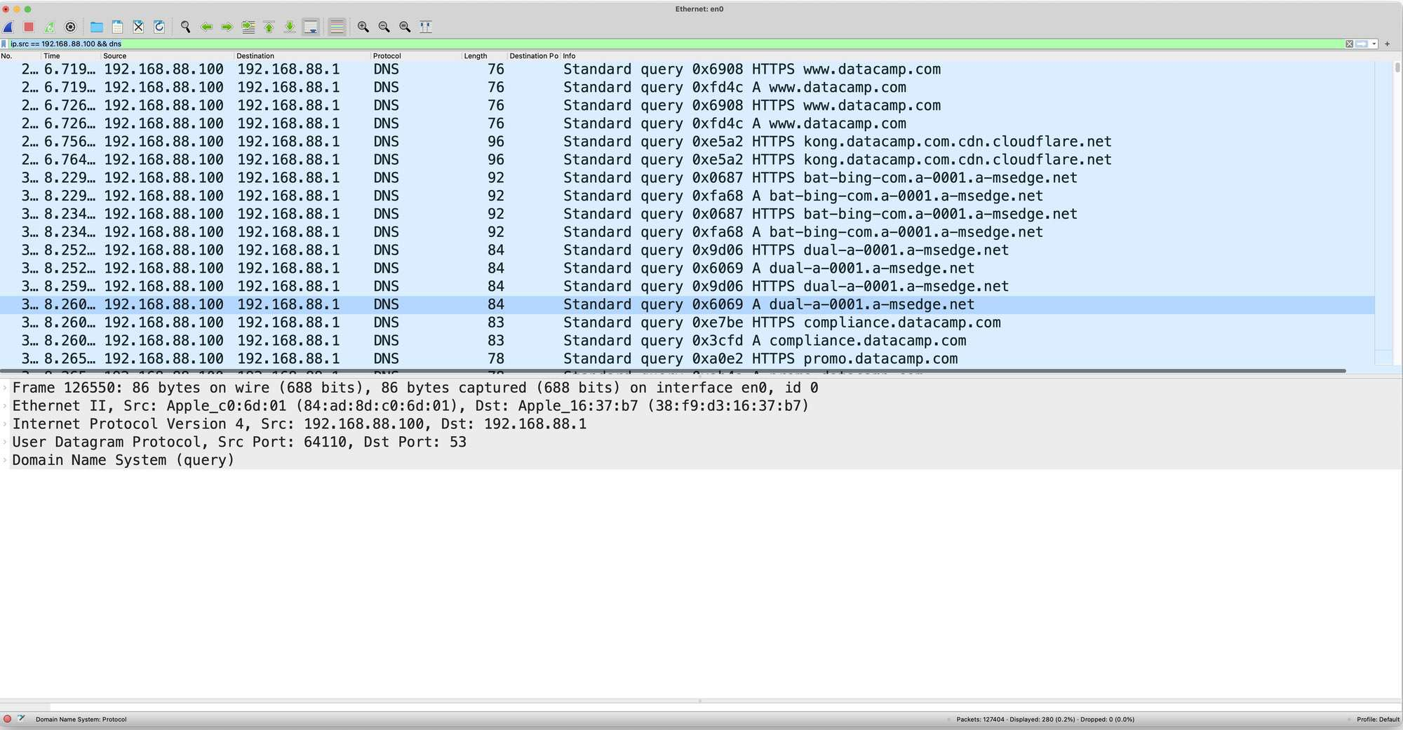 Wireshark filtering package by DNS