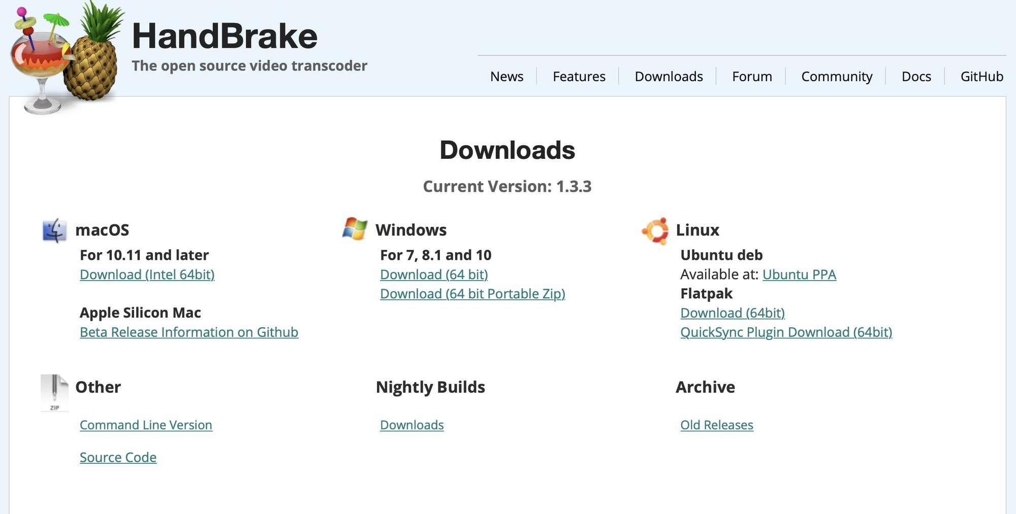 HandBreak Download Page